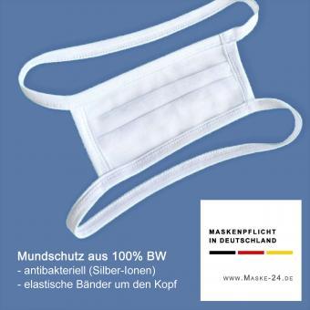 5x Mundschutz S05 | Baumwolle - antibakteriell mit Silber-Ionen | mit elastischen Bändern