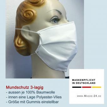 10x Mundschutz V02 | 3-lagig Baumwolle und Vlies | mit Gummibändern | Größe einstellbar