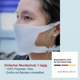 100x Einfacher Behelfsmundschutz E03 | 100% Polyester-Vlies 1-lagig | Bänder um den Kopf  | Größe einstellbar